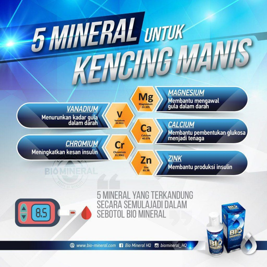 manfaat mineral dalam bio mineral memulihkan dan merawat kencing manis