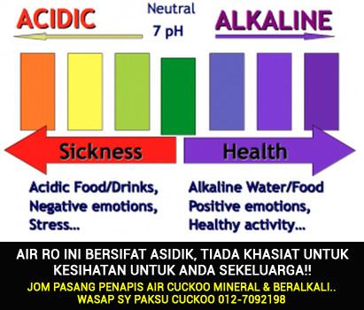 keburukan minum air ro dari penapis air coway airnya bersifat asidik