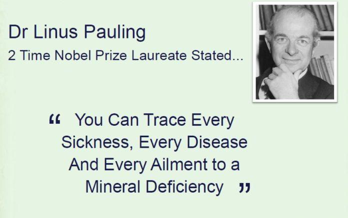 dr-linus-pauling-penawar penyakit yang mujarab punca pelbagai penyakit kepada tubuh disebabkan oleh kekurangan mineral