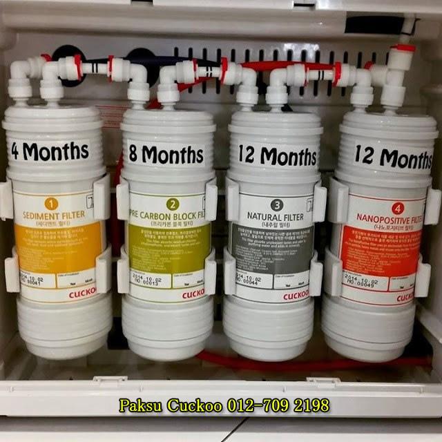 servis penukaran filter cuckoo water filter atau penapis air cuckoo setiap 4 bulan sekali berbanding penapis air coway 6 bulan sekali dan ianya adalah percuma sahaja