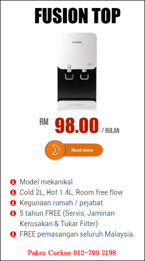 cuckoo water filter fusion top reviews dan kelebihan kebaikan penapis air cuckoo fusion top