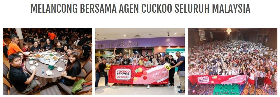 bina kerjaya bersama cuckoo bersama team paksu cuckoo dalam jmg group kami bantu anda bagaimana jadi agen cuckoo ejen cuckoo seluruh malaysia dengan pengalaman komisyen dan insentif agen cuckoo yang menarik untuk anda boleh melancung ke seluruh negara dan luar negara