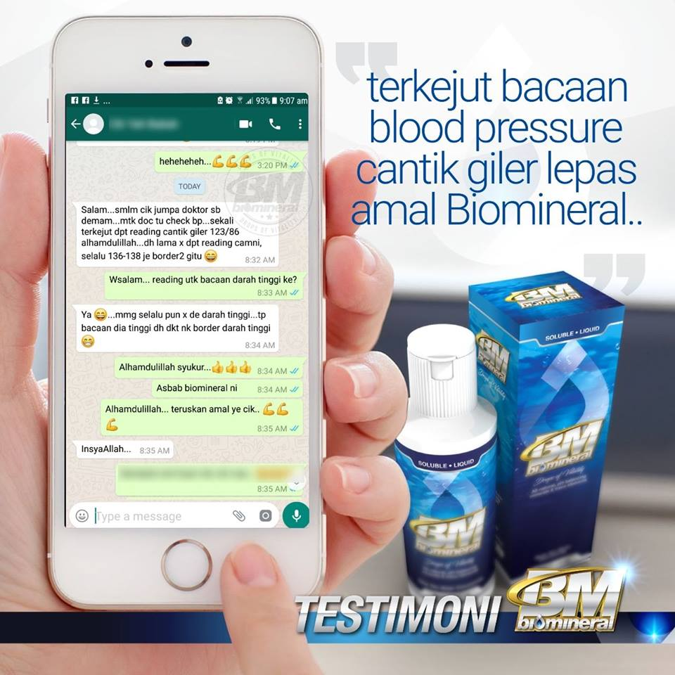 testimoni biomineral bacaan blood pressure dan tekanan darah tinggi baik dan turun selepas amalkan biomineral