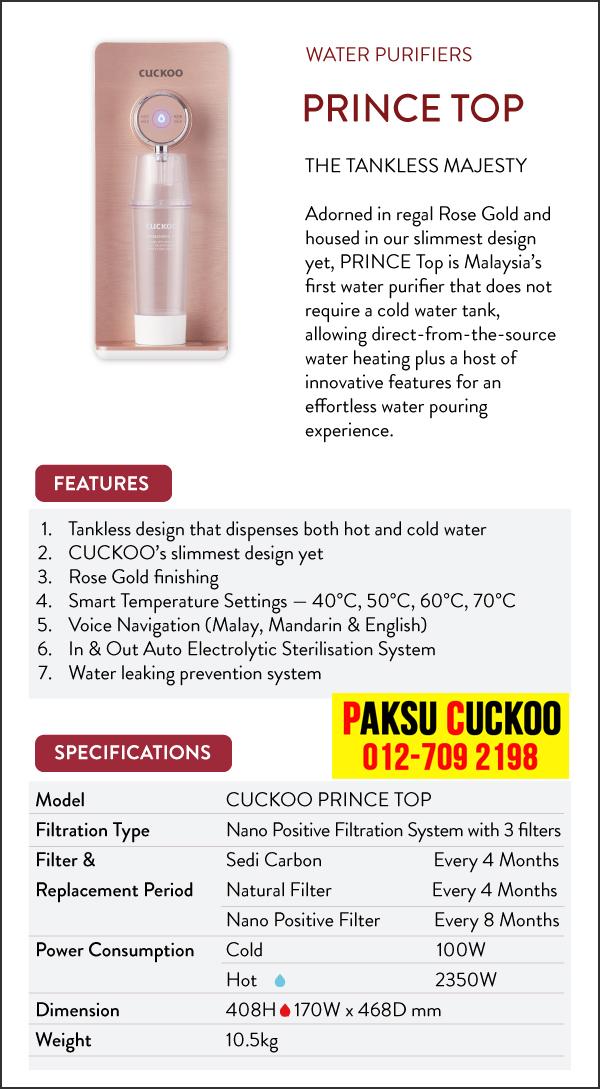 kelebihan kebaikan ciri ciri spesifikasi dan review penapis air cuckoo prince top penapis air cuckoo air bermineral dan beralkali ringan penapis air terbaik berbanding coway