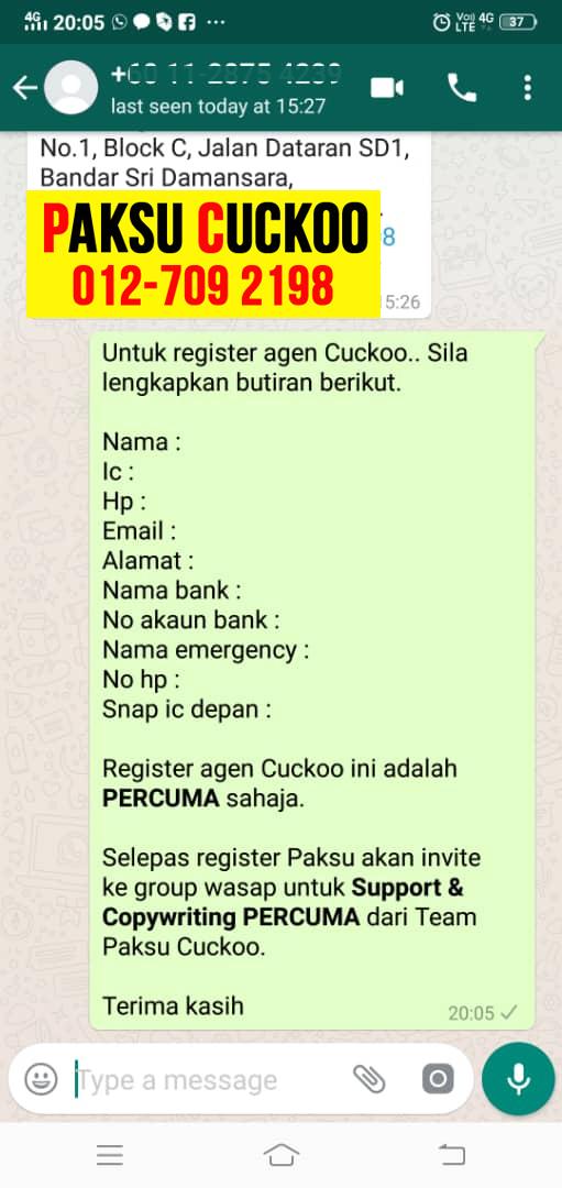 registration cara register dan daftar jadi agen cuckoo putrajaya jadi ejen cuckoo jadi agent cuckoo di wilayah persekutuan putrajaya