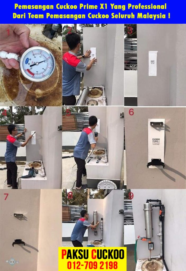 pemasangan mesin penulen air luar rumah terbaik cuckoo outdoor water purifier pulau pinang penang in malaysia easy installation with proper schedule service high standard good quality