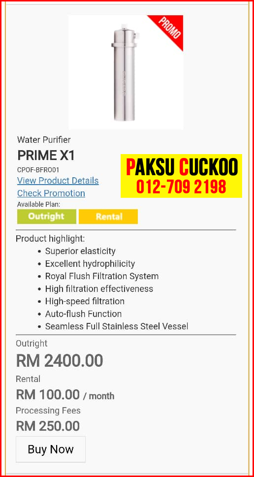 10 penapis air cuckoo prime x1 model review spec spesifikasi harga cara beli agen ejen agent price pasang sewa rental cuckoo water purifier Pantai Damai, Demak Laut, Tupong, Samariang