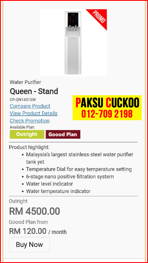 12 penapis air cuckoo queen stand model review spec spesifikasi harga cara beli agen ejen agent price pasang sewa rental cuckoo water purifier Lipat Kajang, Paya Rumput, Pokok Mangga,