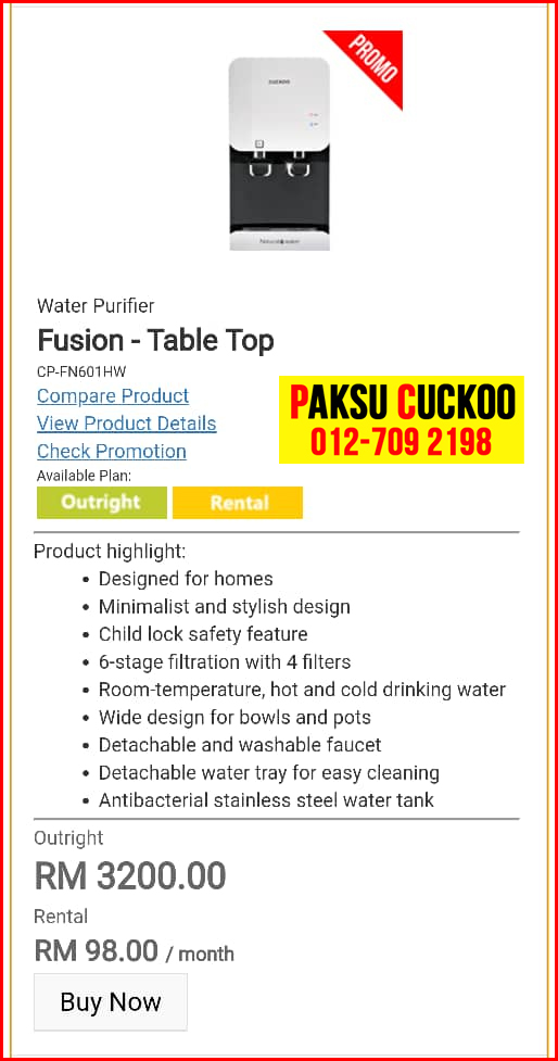 3 penapis air cuckoo fusion top model review spec spesifikasi harga cara beli agen ejen agent price pasang sewa rental beli cuckoo water filter di Batu Berendam, Bemban, Bukit Beruang,