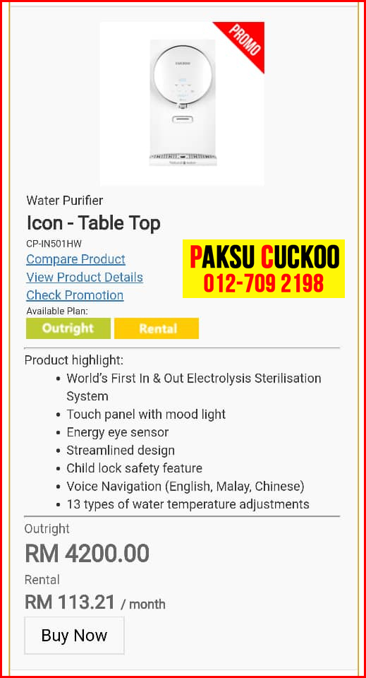 4 penapis air cuckoo icon top model review spec spesifikasi harga cara beli agen ejen agent price pasang sewa rental cuckoo water filter di Bandar Muadzam Shah, Bandar Tun Abdul Razak (Keratong),