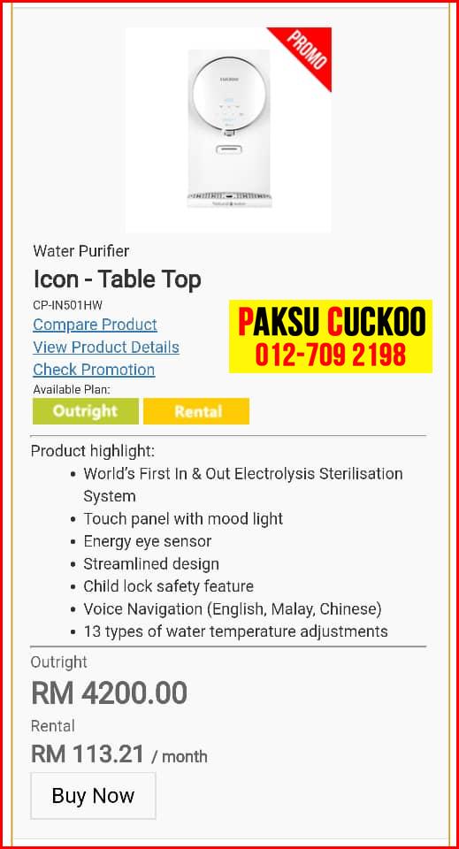 4 penapis air cuckoo icon top model review spec spesifikasi harga cara beli agen ejen agent price pasang sewa rental cuckoo water filter di Bukit Katil, Cheng, Durian Tunggal,