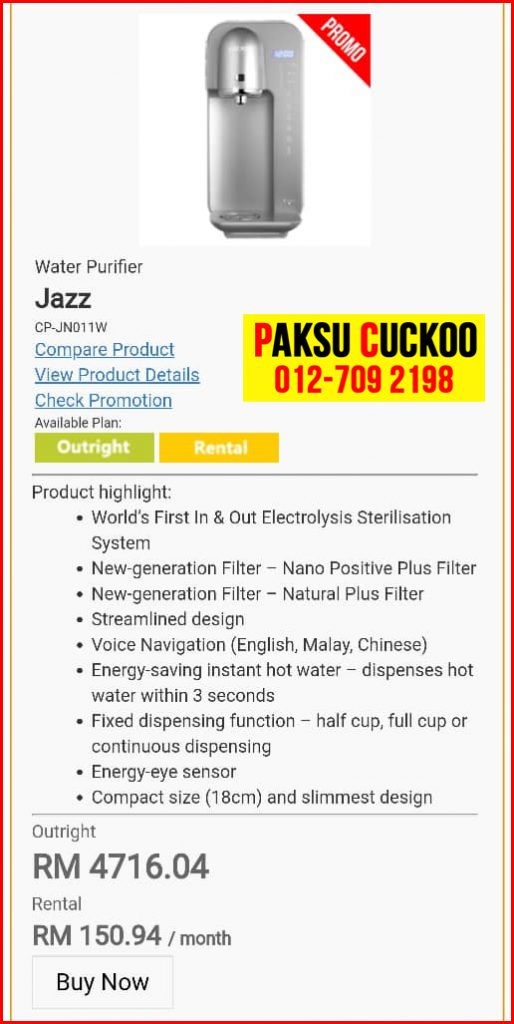 6 penapis air cuckoo jazz model review spec spesifikasi harga cara beli agen ejen agent price pasang sewa rental cuckoo water filter di Kuala Sungai Baru, Lendu, Lubuk China, Machap Baru,