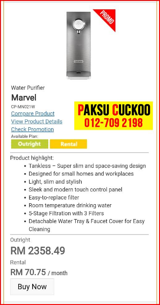 9 penapis air cuckoo marvel top model review spec spesifikasi harga cara beli agen ejen agent price pasang sewa rental cuckoo water purifier Kemahang, Selising, Limbongan, Semerak,