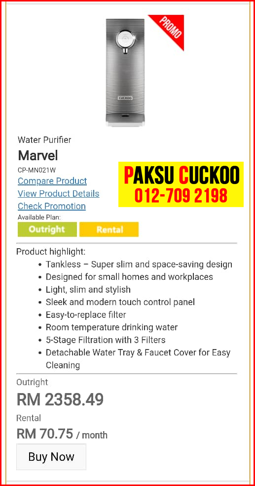 9 penapis air cuckoo marvel top model review spec spesifikasi harga cara beli agen ejen agent price pasang sewa rental cuckoo water purifier Selandar, Serkam, Simpang Ampat, Sungai Rambai,