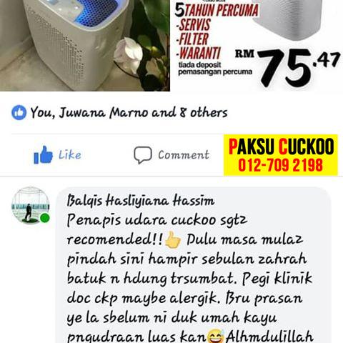 testimoni penapis udara cuckoo air purifier terbaik untuk hilangkan sembuhkan merawat batuk yang berpanjangan untuk dewasa lelaki kanak kanak dan bayi