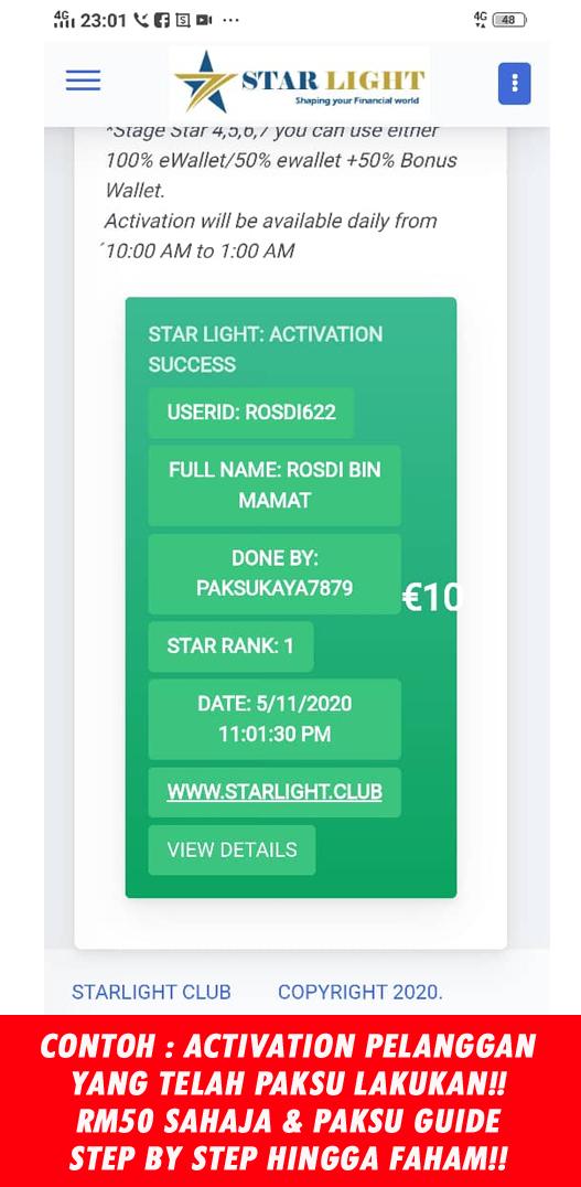 contoh activation atau mengaktifkan akaun starlight tv tengok tv sambil menjana pendapatan setiap bulan