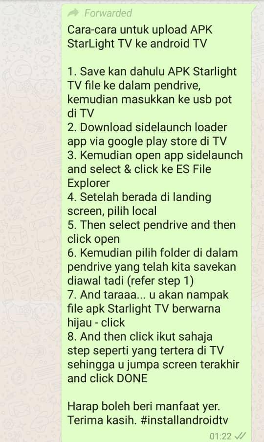 info teknikal bagaimana untuk mengubungkan starlight tv dengan smartphone ke android tv