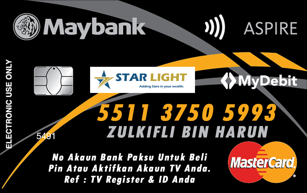 no akaun paksu untuk aktifkan atau beli pin untuk aktifkan starlight tv