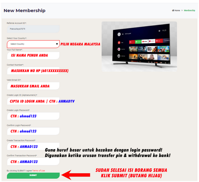panduan mendaftar keahlian dalam new membership starlight tv affiliate program jana income dari rumah