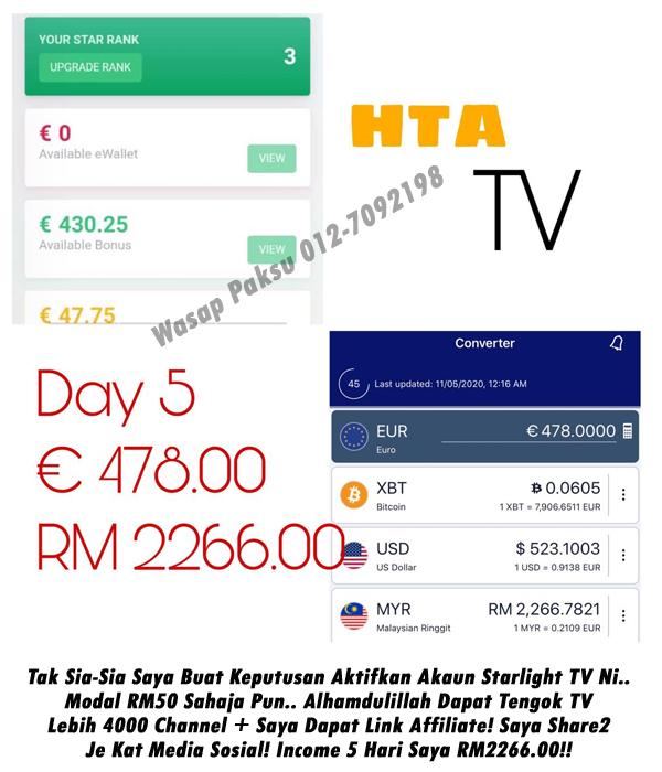 testimoni income starlight tv menjana income dari rumah dengan mudah dan cepat income hari-hari