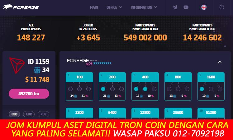 bagaimana kumpul dan gandakan aset digital tron coin dengan cara yang paling selamat dengan forsage trx tron coin forsage io