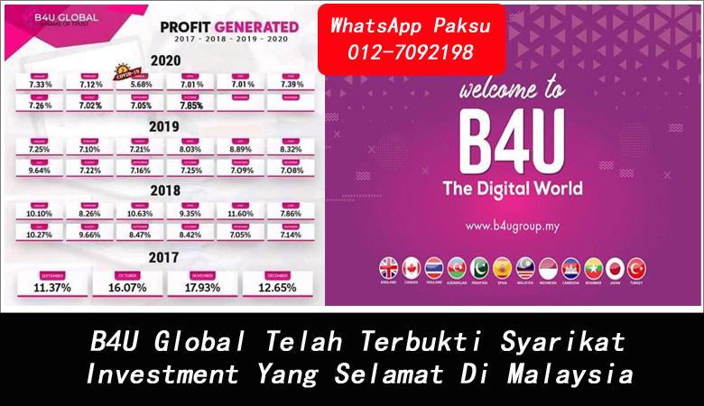 B4U Global Telah Terbukti Syarikat Investment Yang Selamat Di Malaysia pelaburan terbaik masa kini pelaburan pasif tahun 2020 2021 2022 2023 2024 pelaburan pasif income yang menguntungkan