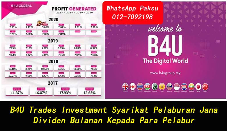 B4U Trades Investment Syarikat Pelaburan Jana Dividen Bulanan Kepada Para Pelabur pelaburan untung harian hari hari setiap bulan bulanan pelaburan paling untung di malaysia