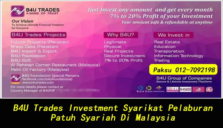 B4U Trades Investment Syarikat Pelaburan Patuh Syariah Di Malaysia company investment terbaik di malaysia pendapatan pasif patuh syariah di malaysia b4u trades fatwa halal haram