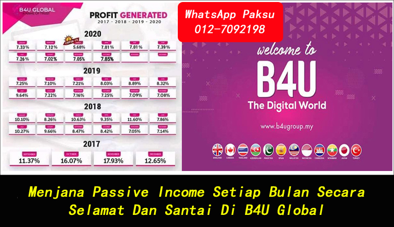 Menjana Passive Income Setiap Bulan Secara Selamat Dan Santai Di B4U Global jana pendapatan pasif bulanan pelaburan dividen bulanan cara buat passive income terbaik 2020 2021 2022 2023 2024