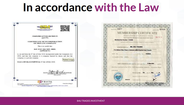 sijil sijil b4u syarikat pelaburan yang sah di malaysia mendapat kelulusan bank negara malaysia syarikat pelaburan terbaik tahun 2020 2021 2022 2023 2024