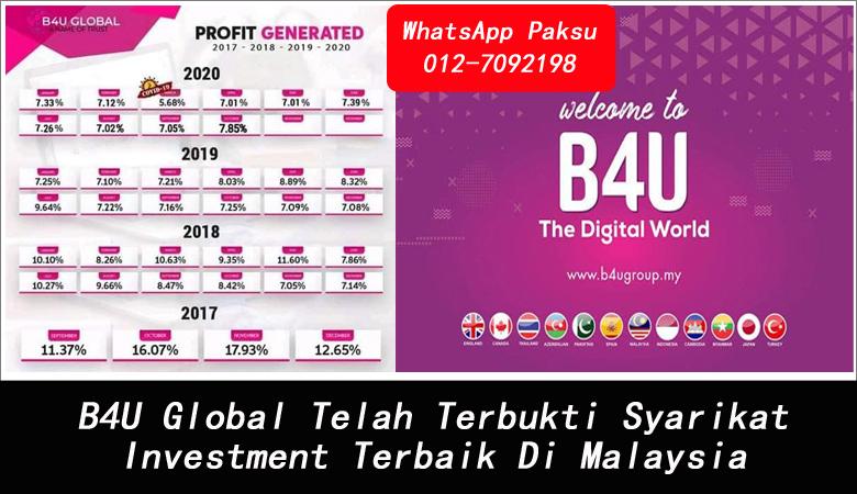 B4U Global Telah Terbukti Syarikat Investment Terbaik Di Malaysia best investment in malaysia 2020 2021 2022 2023 2024 company investment terbaik di malaysia
