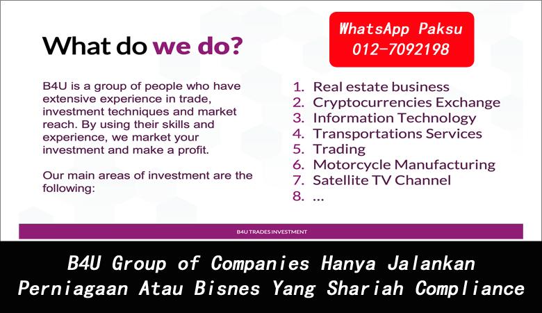 B4U Group of Companies Hanya Jalankan Perniagaan Atau Bisnes Yang Shariah Compliance syarikat pelaburan patuh syariah di malaysia pelaburan terbaik di malaysia 2020 2021 2022 2023 2024