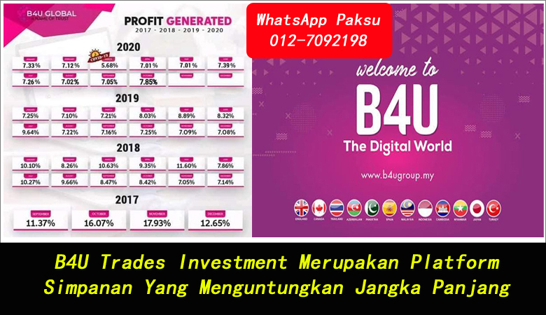 B4U Trades Investment Merupakan Platform Simpanan Yang Menguntungkan Jangka Panjang smart saving investment malaysia best smart saving plan malaysia pendapatan pasif 2020 2021 2022 2023 2024