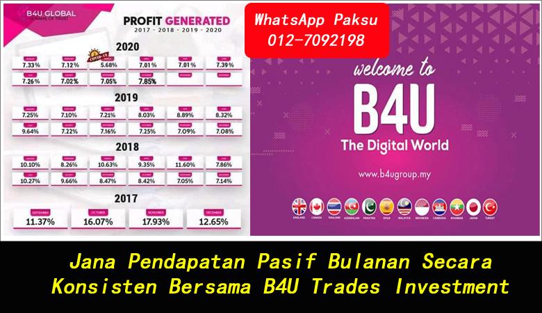 Jana Pendapatan Pasif Bulanan Secara Konsisten Bersama B4U Trades Investment pendapatan pasif setiap bulan bagaimana menjana pasif income pelaburan untung dividen bulanan