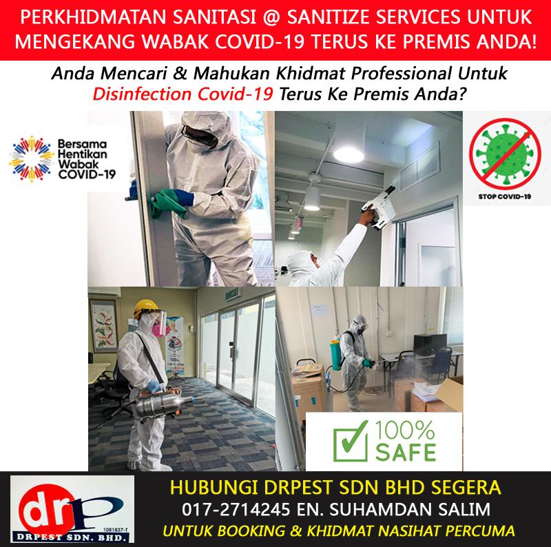 perkhidmatan khidmat semburan basmi kuman virus sanitasi covid 19 disinfection services sanitize services rumah pejabat office klinik bengkel hotel kilang sekolah tadika di jasin melaka