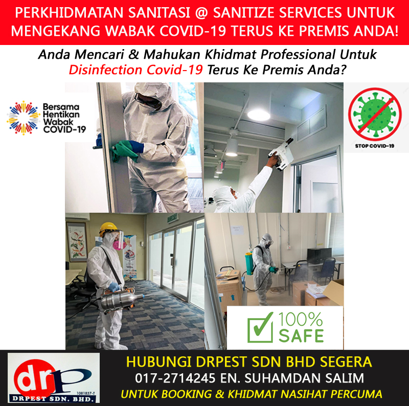perkhidmatan khidmat semburan basmi kuman virus sanitasi covid 19 disinfection services sanitize services rumah pejabat office klinik bengkel hotel kilang sekolah tadika di selandar melaka