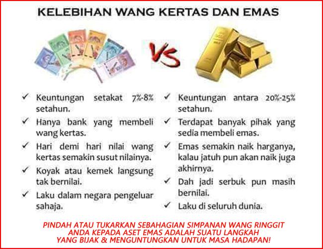 kelebihan dan kekurangan simpanan atau pelaburan emas vs wang ringgit wang kertas vs emas